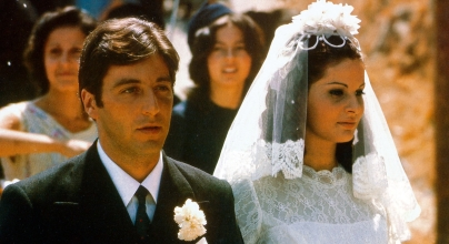 Al Pacino, US actor, in his wedding suit, and Simonetta Stefanelli, Italian actress, in her wedding dress on their wedding day in a publicity still issued for the film, 'The Godfather', Sicily, Italy, 1972. The mafia drama, directed by Francis Ford Coppola, starred Pacino as 'Don Michael Corleone' and Stefanelli as 'Apollonia Vitelli'. (Photo by Silver Screen Collection/Getty Images)